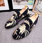 Mens Leisure Slip On Loafers Embroidery Floral Moccasins Wedding Shoes Flats Hot