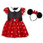 Disney Girls Red/Black Short Sleeve Minnie Mouse Halloween Costume - Toddler