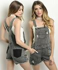 SML Vintage Black Denim Casual Ripped jean washed Romper Short Shortalls Overall