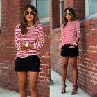 Hot Womens Crew Neck White+Red Striped T-Shirts Long Sleeve Blouse Tee Tops
