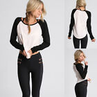 Women Girls Casual Round Neck Long Raglan Sleeve T-Shirt Top Blouse Tee XS S M L