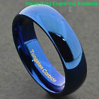 Blue IP Tungsten Carbide 6mm Wide Glossy Mirror Polished Wedding Band Ring image