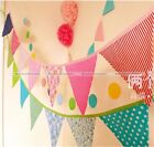 12 Flags 2.6M Cotton Fabric Banners Wedding Party Home Bunting Decor 3 Colors S3