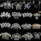 Crystal Rhinestone Pearl Hairpin Flower Diamante Hair Clip Comb Wedding Jewelery