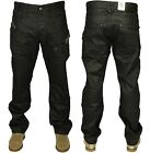 MENS NEW CHEAP ENZO JEANS BLACK COATED STRAIGHT FIT DESIGNER PANTS RRP £34.99