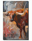Texas longhorn Farm animals Cow  Original Oil  Painting the artist signed