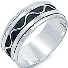 New 925 Sterling Silver Infinity Waves Spinner Black Oxidize Band Ring Size 8-13