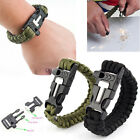 Survival Bracelet Outdoor Paracord Flint Fire Starter Scraper Whistle Gear Kits~