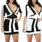 STO Sexy Womens Half Sleeve V Neck Bodycon Straps Cocktail Evening Mini Dress