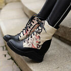 Fashion High Top Sneakers Lace Up Hidden Wedge Heels Causal Sport Shoes Boot