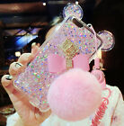 Cute Mickey Bling Glitter Diamond Bowknot Rabbit Fur Plush Ball Strap Case Cover