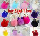 Rabbit Fur Fluffy Puff Ball Bow PomPom Charm Car Handbag Key Chain Ring