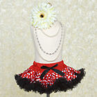 White Polka Dots on Red with Black Ruffle TUTU SKIRT GIRLS Dance Birthday Party