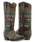 Womens Navajo Brown Leather Cowboy Boots Native Multi Col...