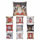 "Embroidered Christmas Scatter Cushion Cover 18"" Square Xmas Room Decoration"