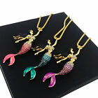 Fashion Women Mermaid Gemstone Crystal Pendant Sweater Chain Necklace Jewelry