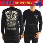AU New Men T-shirt Bikers Long Sleeve Hell on Wheels Motorcycle Black Tee M-XXL