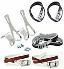 Chrome Racing Bike Toe Clips & Straps Nylon, Black or Brown Leather ( Large )
