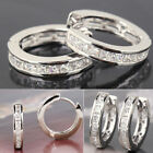 Charming Girls Silver White Clear Crystal Plated Small Round Hoop Earrings 1Pair