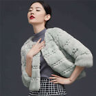 Women's 100% Real Farm Whole Rabbit Fur Warm Jacket Coat Outwear Xmas Garment