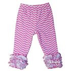Girls Pink Chevron Icing Ruffle Leggings Pants