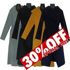 Womens Celebrity Long Duster Coat Ladies French Belted Trench Waterfall Jacket
