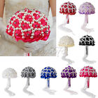 Crystal Sparkle Bouquets Wedding Bridal Artificial DIY Pearl Rose Bridal flowers