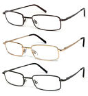 1 or 3 Pair Rectangular Metal Frame Full Lens Reading Glasses Power Up to 6.00
