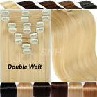 Real Thick Remy Human Hair Extensions Clip In Full Head Double Weft UK Sale H987
