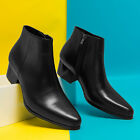 Men's Dress Ankle boots Leather Pointed Toe Casual Zipper Chunky Heel Shoes