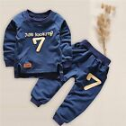 2pcs/set Kids Baby Boys Long Sleeve 7 T-shirt + Long Pants Clothes Outfits Suits