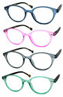1 or 3 Pair Retro Woman Round Full Lens Colorful Reading Glasses SpringTemples