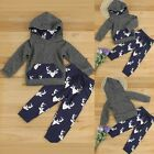 2pcs Toddler Kids Baby Boy Girl Clothes Deer Hooded T-shirt Top+Pants Outfit Set