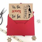 6/10 Luxury personalised kraft christmas cards THE SEASON TO GET TIPSY envelopes