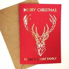 4/8 Luxury gold foil on red personalised christmas cards GEOMETRIC STAG sparkle