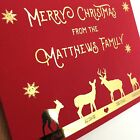4/8 Luxury gold foil on red personalised christmas cards REINDEER FAMILY sparkle