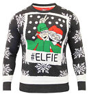 Mens Christmas Jumper Xmas Knitted ELF SELFIE Novelty Elfie Sweater New S M L XL