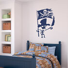 bedrooms with teal walls - Pirate Skeleton with Torn Jolly Roger Flag Vinyl Wall Decal fits bedroom + K656