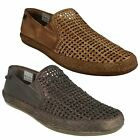 Uomo Pelle Marrone Slip On Palco A Pieghe Piatte Base London Scarpe Casual