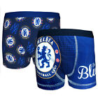 Chelsea Football Club Official Soccer Gift 2 Pack Boys Boxer Shorts Blue