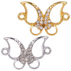 Crystal Rhinestone Outlined Evil Open Butterfly Bracelet Connector Charm Jewelry