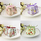 Внешний вид - 50X Wedding Favors SuppliesTrapezoid Floral Candy Boxes Gift Box With Ribbons S