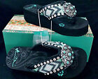 NEW Montana West Cowgirl Western Stone Bling Flip Flops Wedge Sandals Aztec BD6