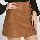 2017Sexy New Women Ladies Casual Faux suede Lace Up Hip Package Mini Dress Skirt