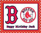 Boston Red Sox Edible Birthday Cake Topper OR Cupcake Topper, Decor
