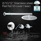 FULLY METAL  Rain Shower Head Straight Wall Mounted Arm Hot Cold Mixer Tap Set