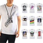 AU Men's T-shirt Casual Tee Saxophone Skull Bicycle Space Popular Cotton Size M