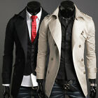 Hot Autumn Winter Men Slim Stylish Trench Coat Double Breasted Long Jacket New