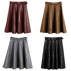 Women Fashion High Waist Synthetic Leather A Line Pleated Skirt Dress