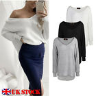 UK Womens Ladies Off the Shoulder Long Sleeve Pullover Sweater Jumper Mini Dress